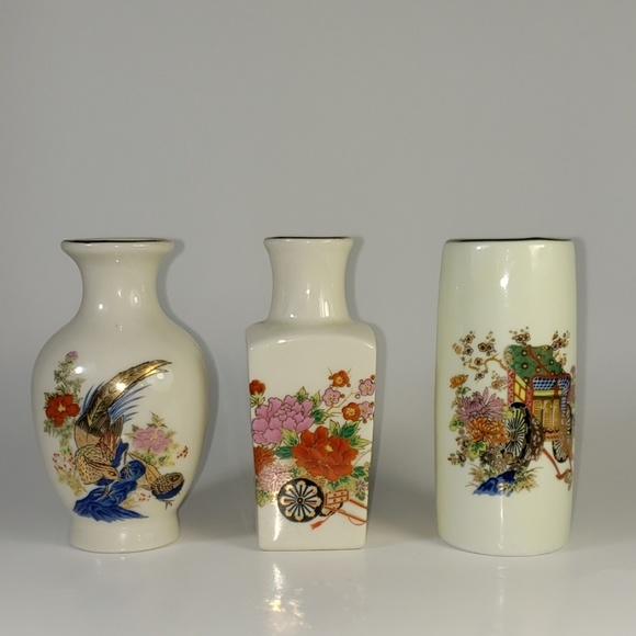 Bud Vase dog and bird Made in Japan 1950s vintage collectible animal vases